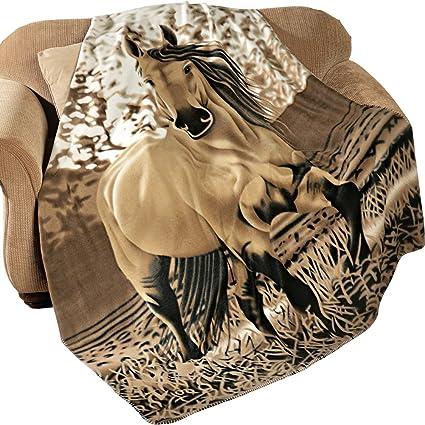 Amazoncom Western Horse Soft Fleece Throw Blanket 63x73 Home