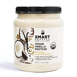 Smart Pressed Juice Vegan Vanilla Proteini | Organic Protein Powder | Clean Lean Plant Based Protein Shake | Best Detox Smoothie with No Added Fillers | Made in the USA | 20 Servings