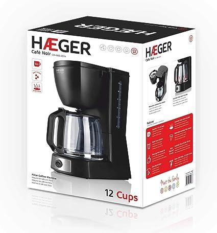 HAEGER CAFÉ Noir - Cafetera de Goteo, Capacidad 12 Tazas, 680W de ...
