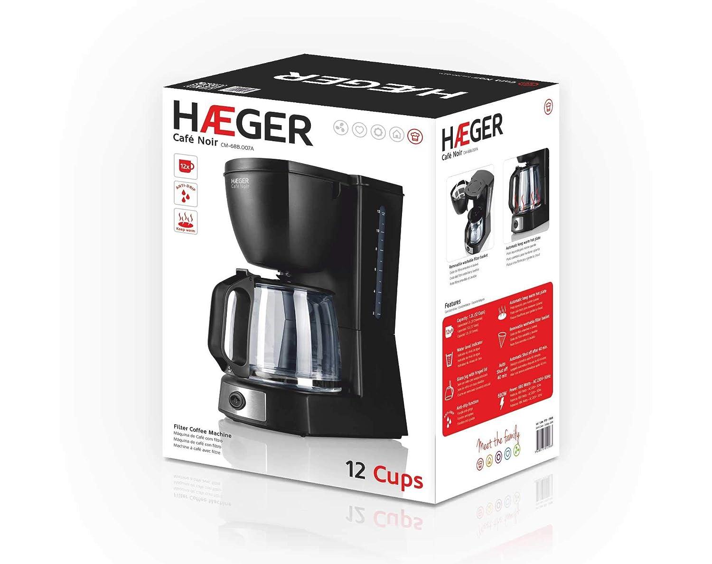 HAEGER CAFÉ Noir - Cafetera Eléctrica, 680W, 1.2L (Capacidad para 12 Tazas), Jarra de Vidrio, Función Anti-Goteo