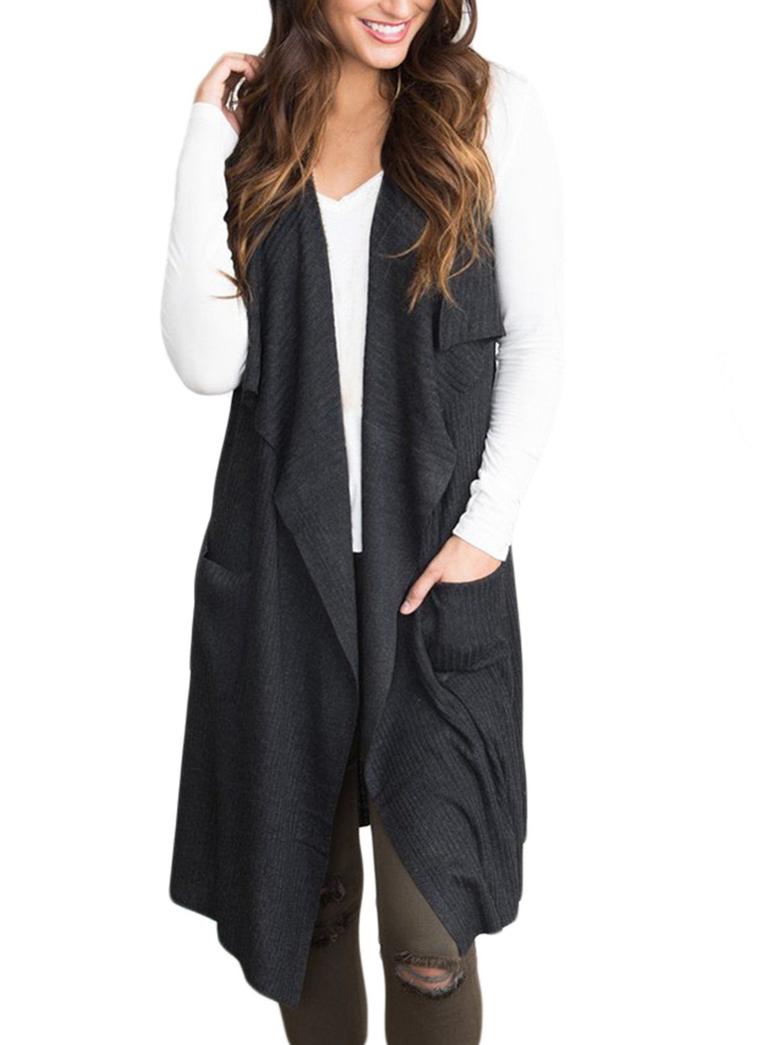 Sidefeel Women Sleeveless Open Front Knitted Long Cardigan Sweater Vest Pocket XX-Large Black by Sidefeel (Image #1)