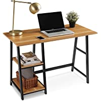 """Computer Desk, QooWare 43"""" Writing Desk with 2 Storage Shelves on Left or Right for Laptops, Modern Simple Study Wooden…"""