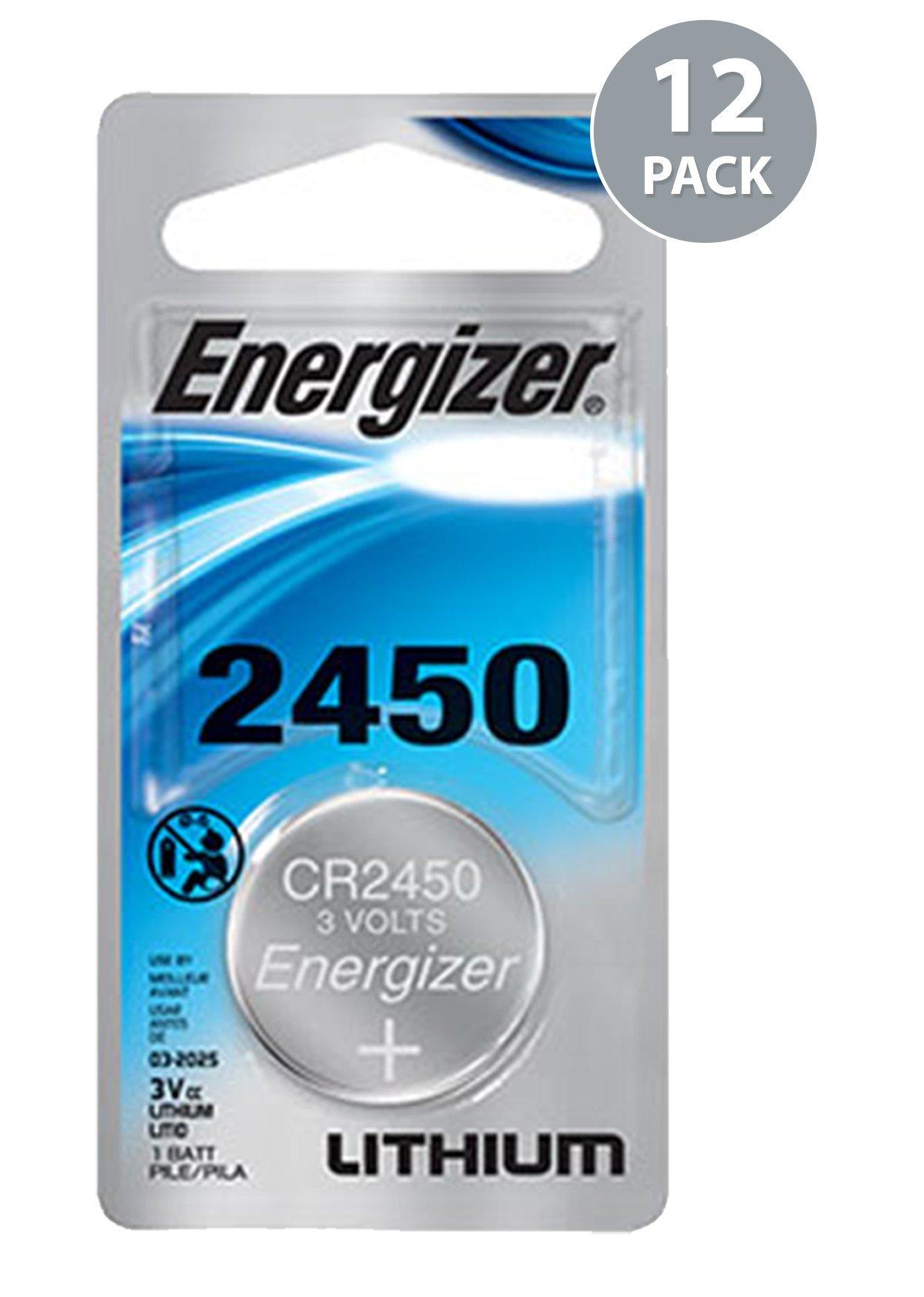 Energizer CR2450 Lithium Battery, 3v ECR2450, 12 PK by Energizer