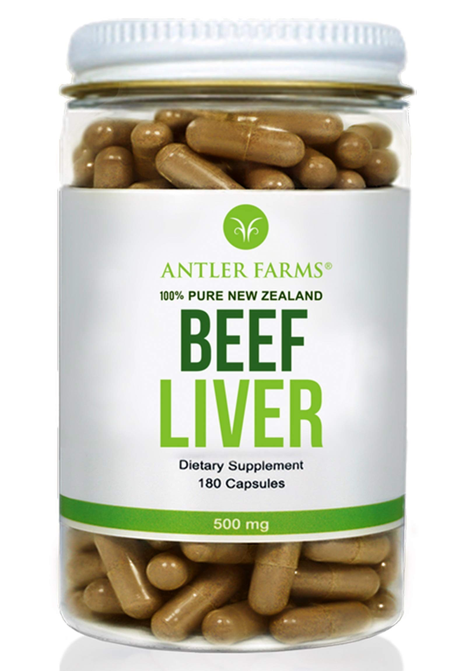 Antler Farms - 100% Pure New Zealand Beef Liver, 180 Capsules, 500mg - Grass Fed, Cold Processed Supplement, NO Hormones, NO Antibiotics, NO Chemicals, NO GMOs by Antler Farms