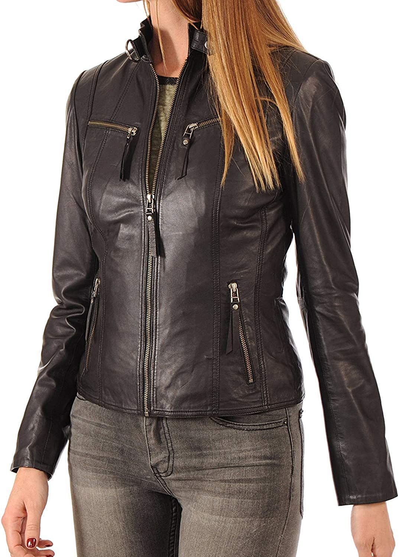 Womens Leather Jacket Stylish Motorcycle Biker Genuine Lambskin 18