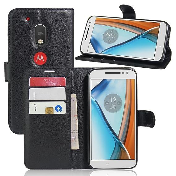 pretty nice 650bf 5a834 Amazon.com: Motorola Moto G4 Play Wallet Case, [nibaijing] Flip PU ...