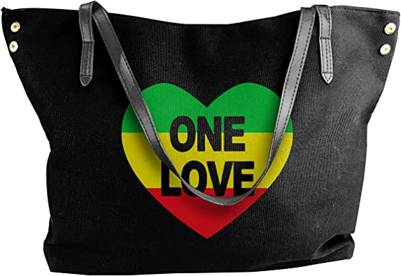 Colorful Love Heart Canvas Tote Bag Handbag Purse for Women