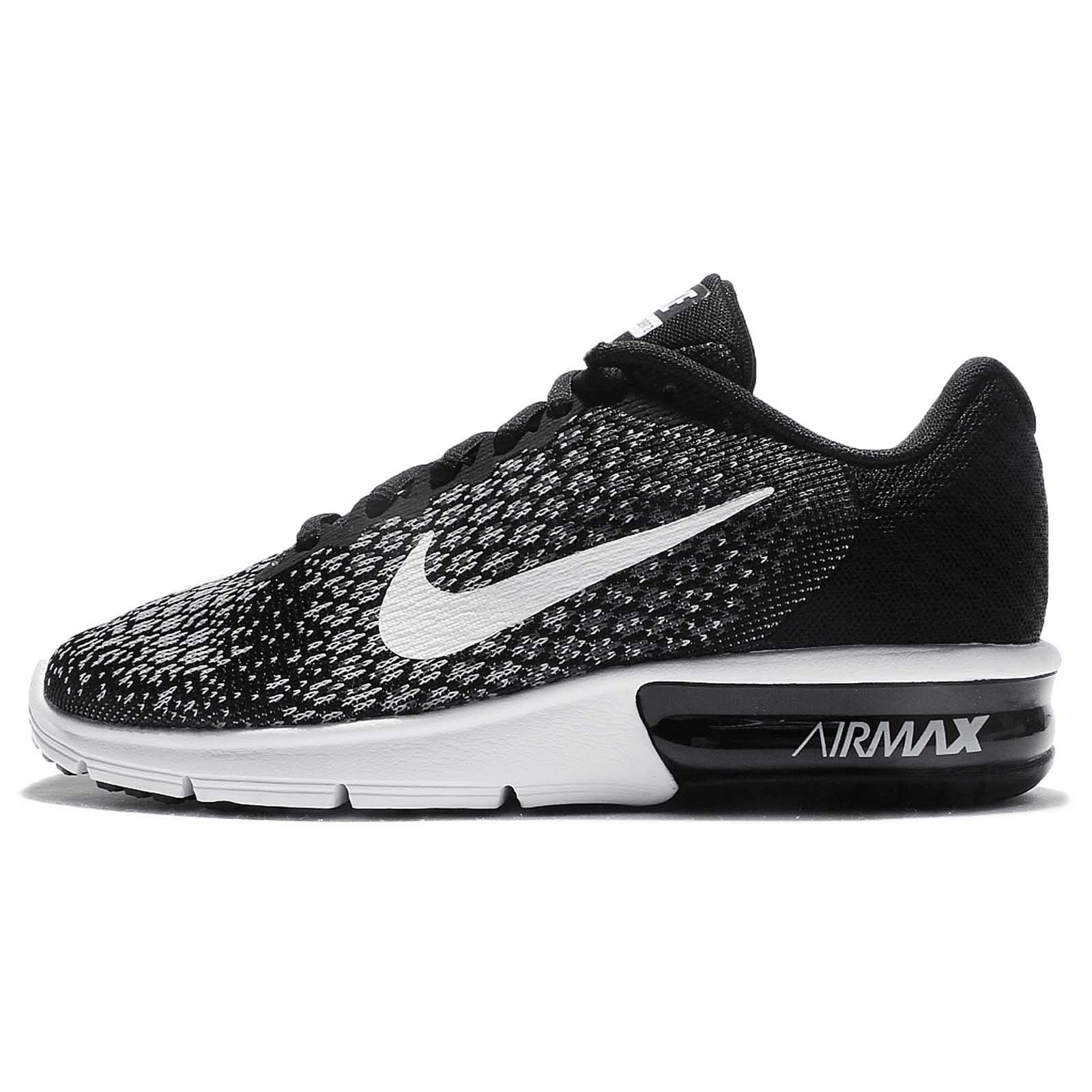 sports shoes 2da5a e2420 Galleon - NIKE Women s WMNS Air Max Sequent 2, Black White Dark Grey, 5 M US
