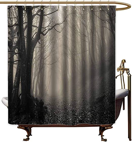 Cloudy Gray Waterproof Bathroom Polyester Shower Curtain Liner Water Resistant