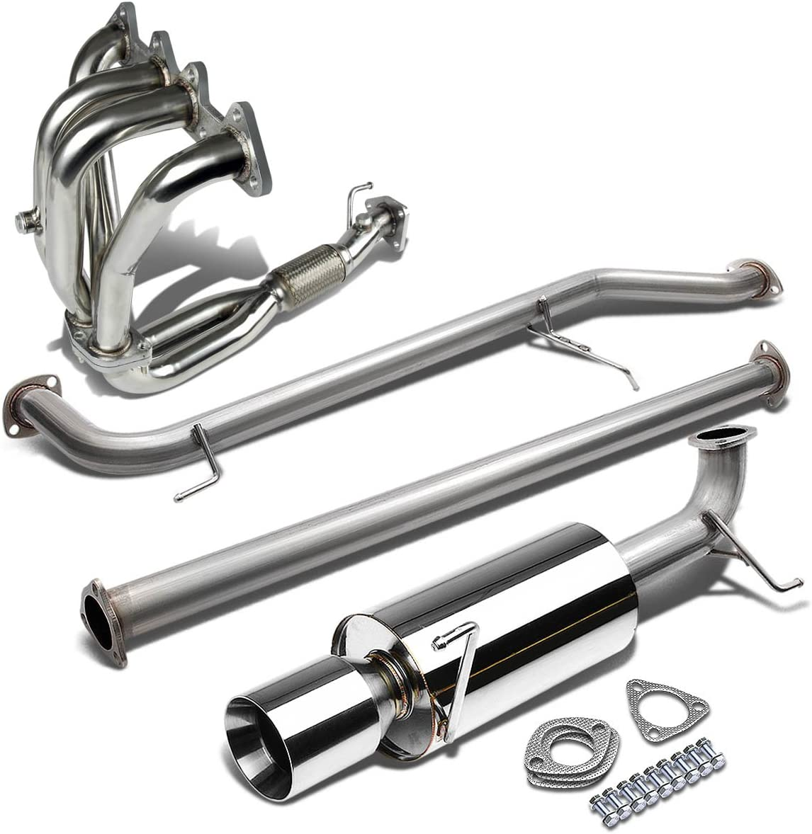 For Honda Accord CG 4-Cylinder Stainless Steel 4 inches Rolled Tip Catback System+4-1 Exhaust Header