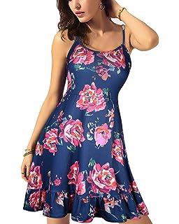 4a83db3ce55e KILIG Women s Floral Print Sundress Adjustable Strappy Sleeveless Summer Swing  Dress