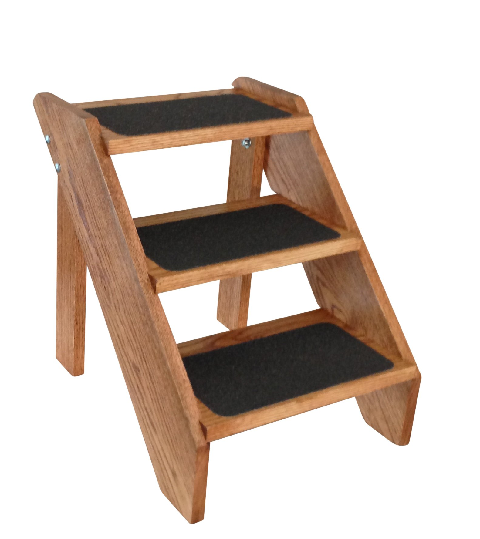 Premier Pet Steps Tall Open Riser Steps, Solid Oak Tread with a Non Slip Surface Stained Early American, 17-Inch
