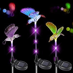 3 PCS Multi-Color Changing Solar Garden Stake Light, Hummingbird Waterproof Solar Powered Decorative Landscape Yard Light LED for outdoor Pathway Backyard Lawn Flower Beds Patio Decoration Yard Art