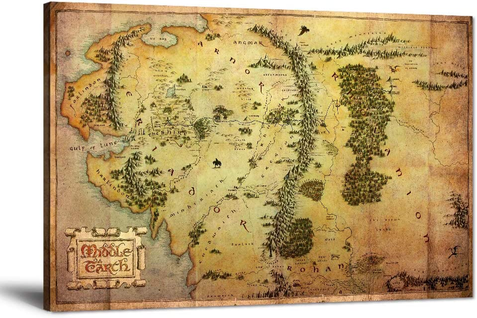 """The Hobbit Map Wall Art Picture Lord of the Rings Map Canvas Painting Map of Middle Earth Posters HD Prints Home Decor Artwork for Living Room Bedroom Office Stretched Framed Ready to Hang (12""""Hx18""""W)"""