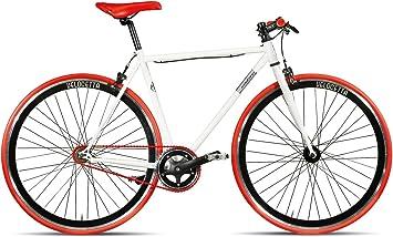 Bicicleta Montana Pista Fixed Gear de 28 pulgadas, color blanco y rojo, tamaño 56 cm, tamaño de rueda 28.00: Amazon.es: Deportes y aire libre