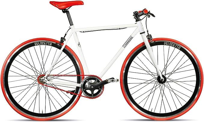 Bicicleta Montana Pista Fixed Gear de 28 pulgadas, color: blanco y rojo, tamaño del marco: 56 cm: Amazon.es: Deportes y aire libre