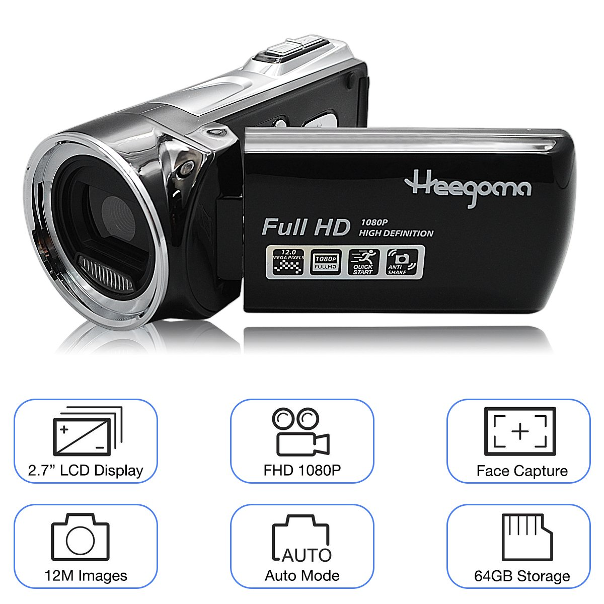 Heegomn Digital Video Camera FHD 1080P Camera Camcorders 2.7'' LCD 12MP Video Recorder with Wide Angle Lens, Black