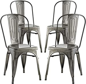 Modway Promenade Industrial Modern Steel Four Kitchen and Dining Room Chairs in Gunmetal, Side