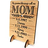 Unique Mom Greeting Card Personalized Mothers Day Gift Mom Card for Birthday Christmas Mother of the Bride Thank You Cards Handmade Display Alder Wood Card (Mom)