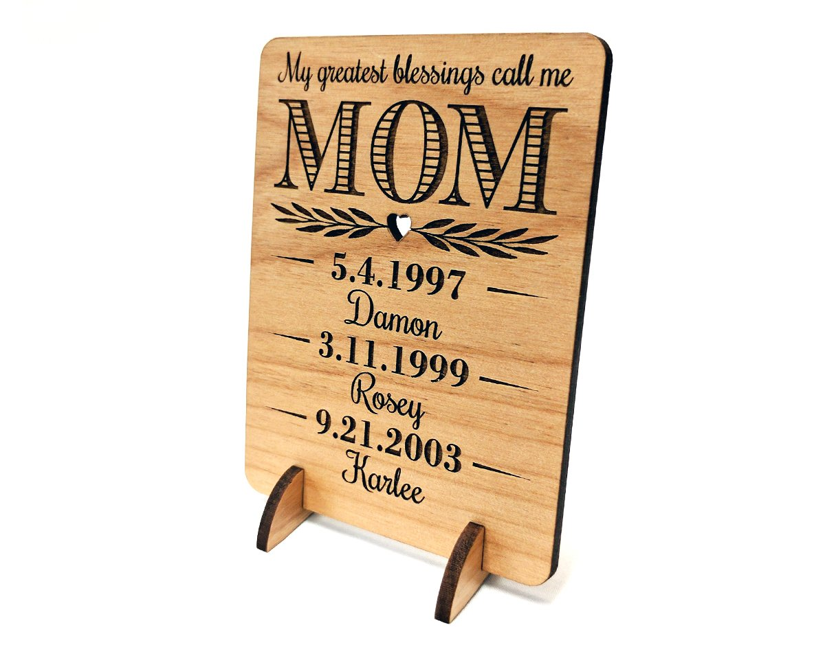 Unique Mom Greeting Card Personalized Mothers Day Gift Mom Card for Birthday Christmas Mother of The Bride Thank You Cards Handmade Display Alder Wood Card (Mom) by Greeting Card-by-StockingFactory (Image #1)
