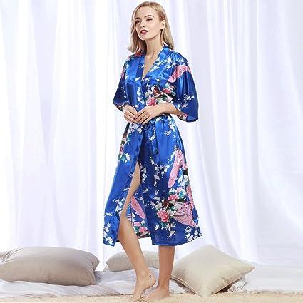 Albornoces GAOLILI Seda y Otoño de Seda de Mujer Sexy Camisón Largo Pijama Verano Batas de