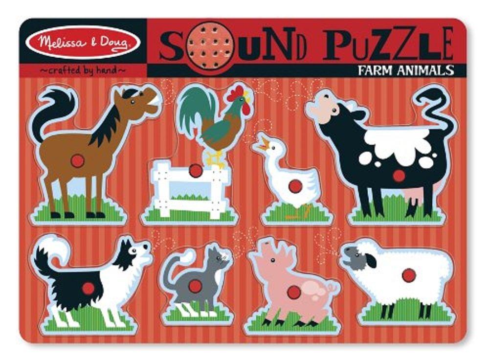 8 pcs Wooden Peg Puzzle with Sound Effects Melissa /& Doug Farm Animals Sound Puzzle