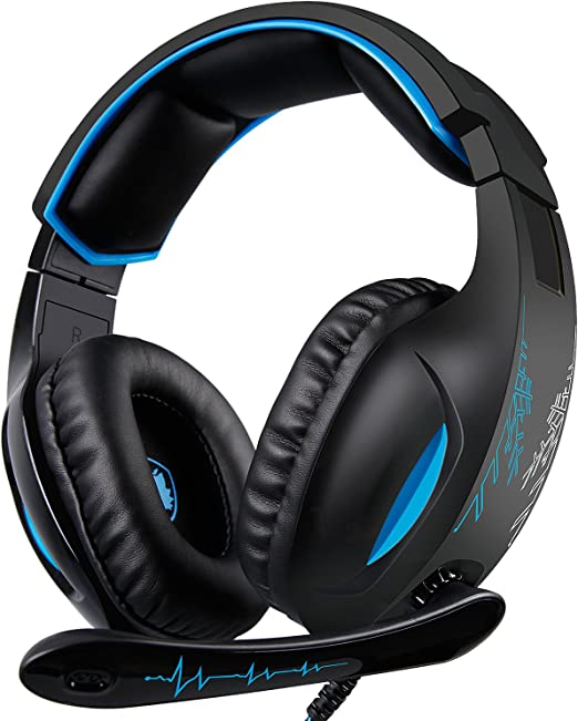 SADES Gaming Headset, 3.5mm Stereo Wired Over-Head Gaming Headphones, Over Ear Noise-canceling Gaming Headphones with Mic for Nintendo Switch Games(Black&Blue)