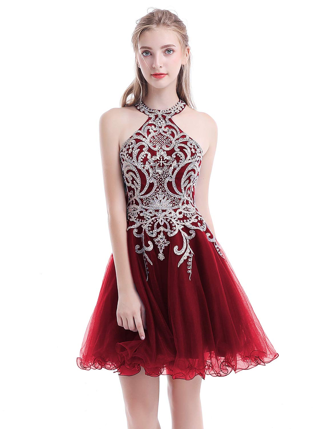 Aurora Bridal Women's Halter Beaded Homecoming Dresses 2018 Short Tulle Prom Gown Size 2 Burgundy