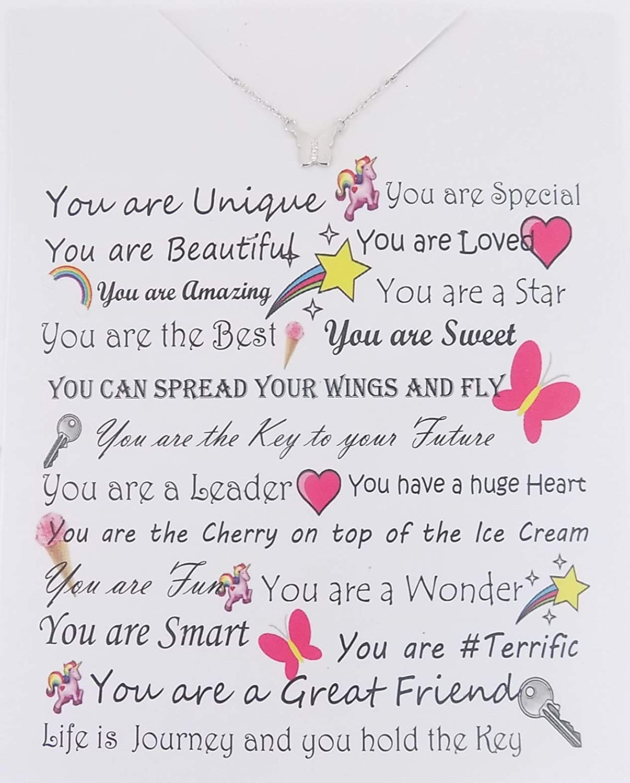 ShameOnJane Sterling Silver Crystal Butterfly Pendant Necklace Women Girls Teen Girls on a Card.