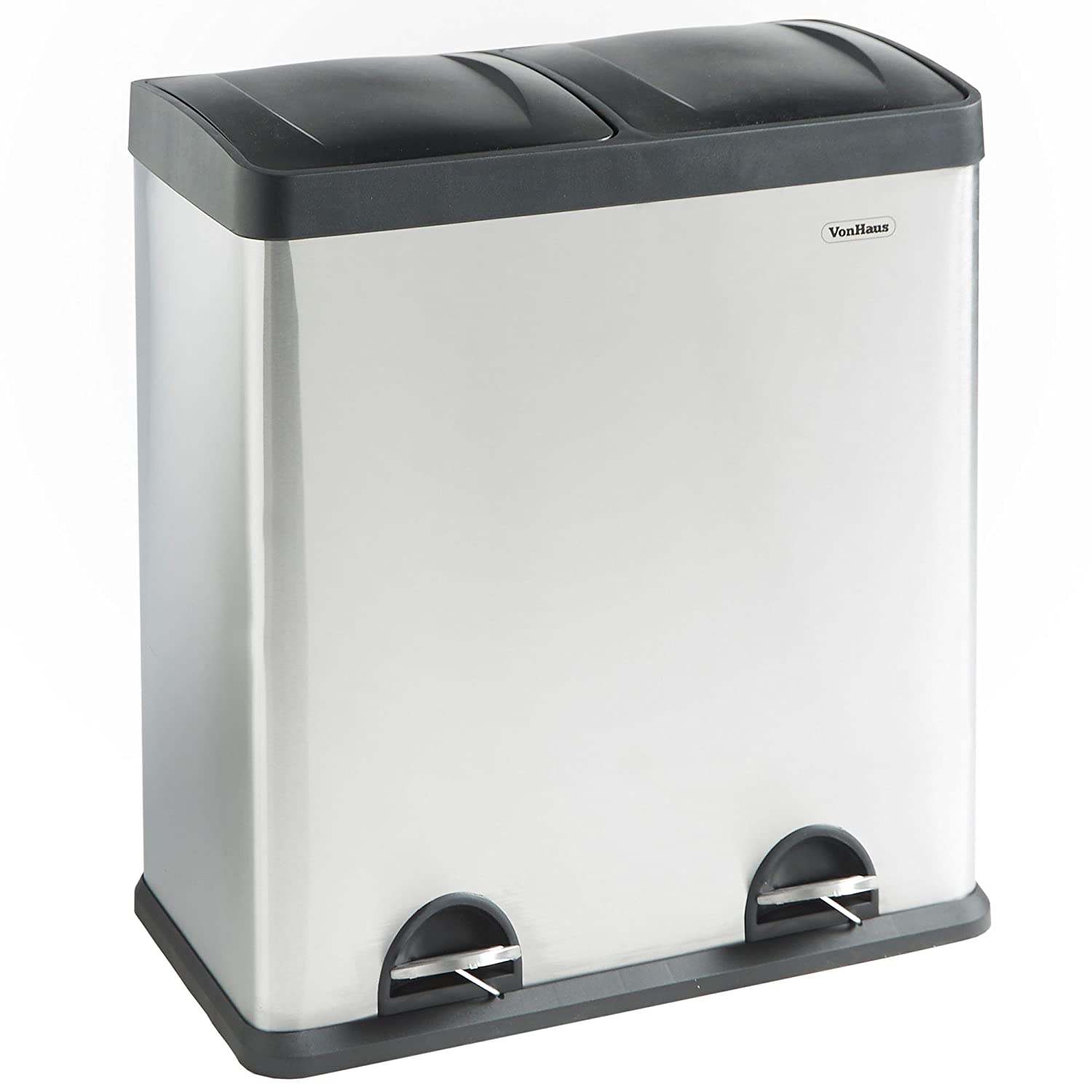 VonHaus Recycling Bin with Lids for Kitchens | 60 Litre Capacity | 2 ...