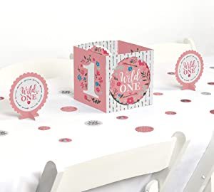 Big Dot of Happiness She's a Wild One - Boho Floral 1st Birthday Party Centerpiece and Table Decoration Kit