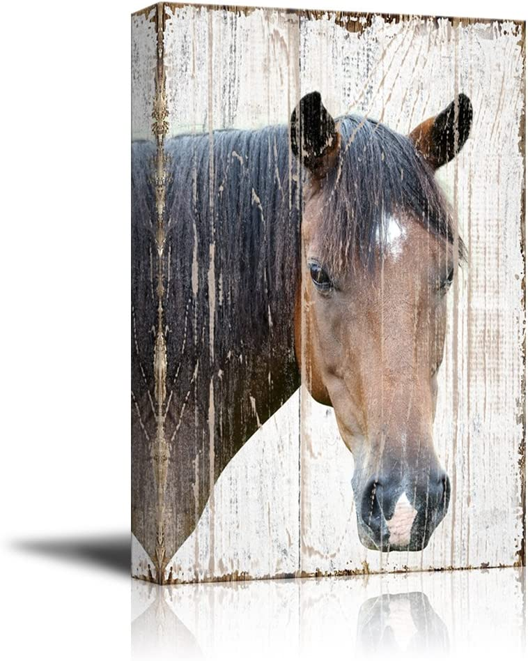 wall26 - Canvas Print Wall Art - Head of a Horse on Rustic Style Wood Background - Gallery Wrap Modern Home Art | Ready to Hang - 24x36 inches