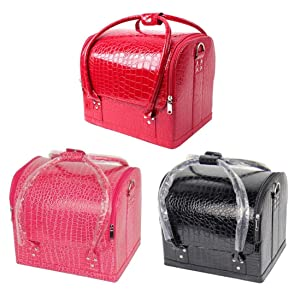 Professional Cosmetics Cases, Misaky Make-up Fashionista Portable Crocodile Pattern Assorted Colors