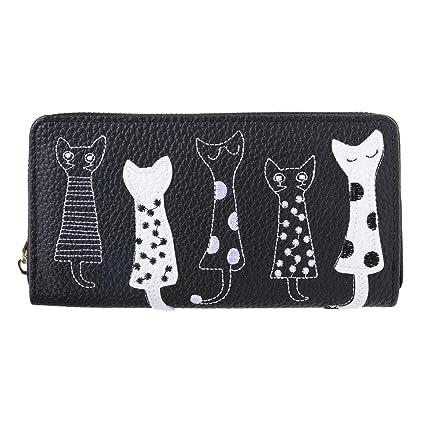 Domybest - Bolso de mano, cartera para mujer, diseño con dibujo de gato,