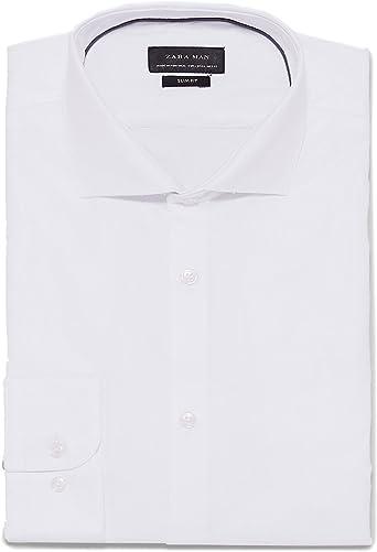Zara Camisa Casual - para Hombre Weiß S: Amazon.es: Ropa