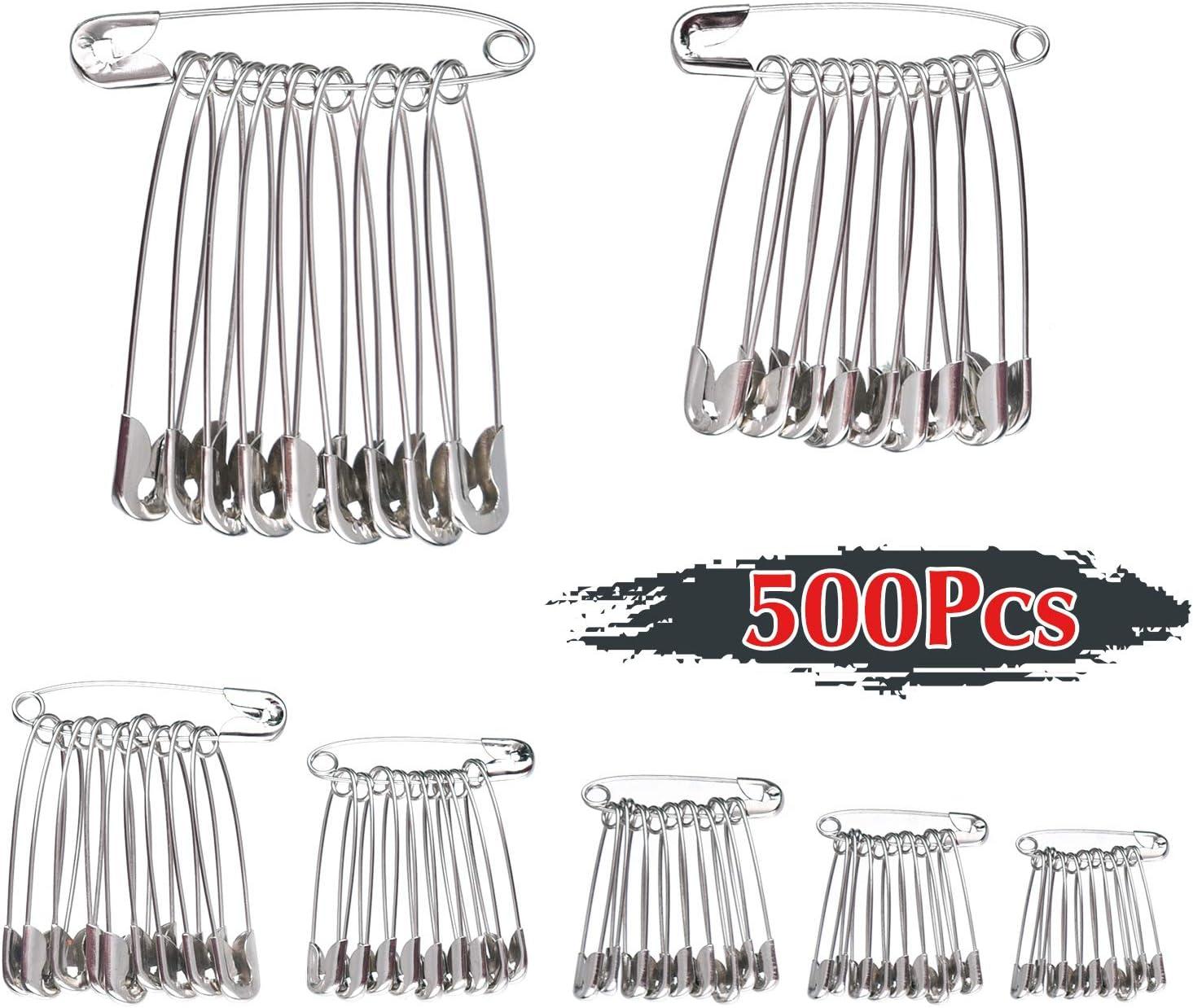 7 Tallas TUPARKA 500Pcs Imperdibles,19 mm a 54mm para uso en el hogar Marca de joyer/ía de arte DIY con caja de almacenamiento