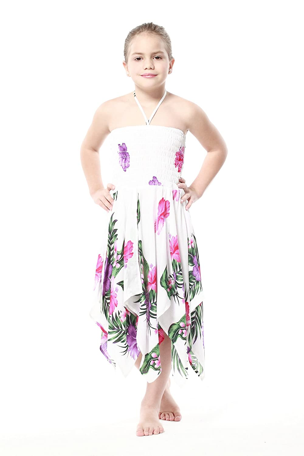 Girl Gypsy Uneven Button Hawaiian Luau Dress in White with Pink and Purple Floral Aloha Fashion 027808