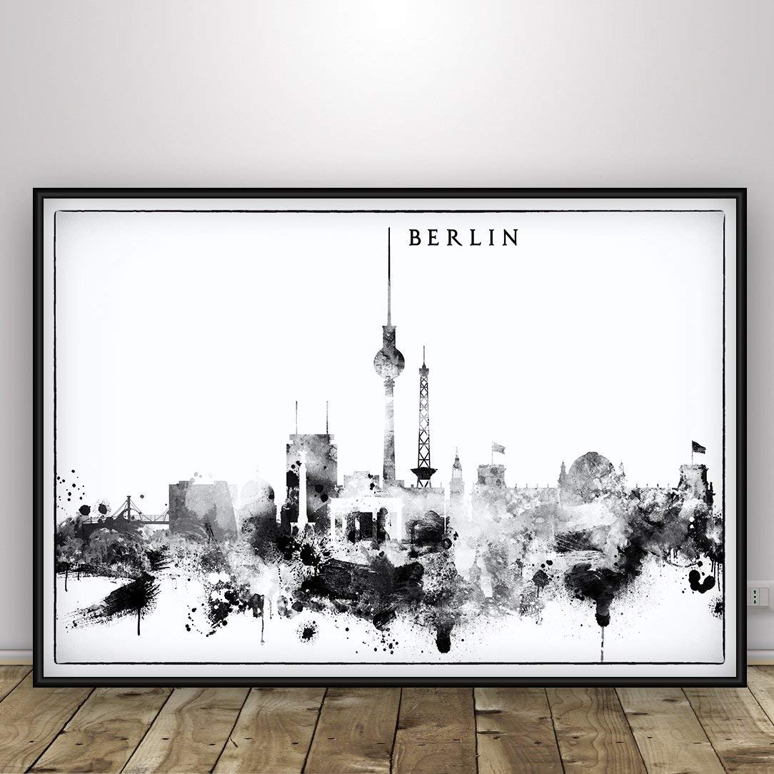 Berlin Skyline Panoramic Berlin Poster Berlin Print Wall Art Berlin Map Berlin Artwork Watercolor Berlin Illustration Berlin City Art