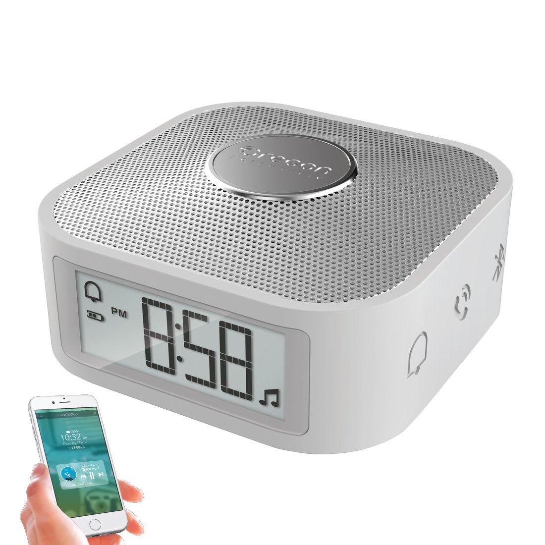 Digital Travel Clock with USB Charging Port and 5 Alarm Options for Heavy Sleepers, Portable Alarm Clock with Bluetooth Speaker (Silver)