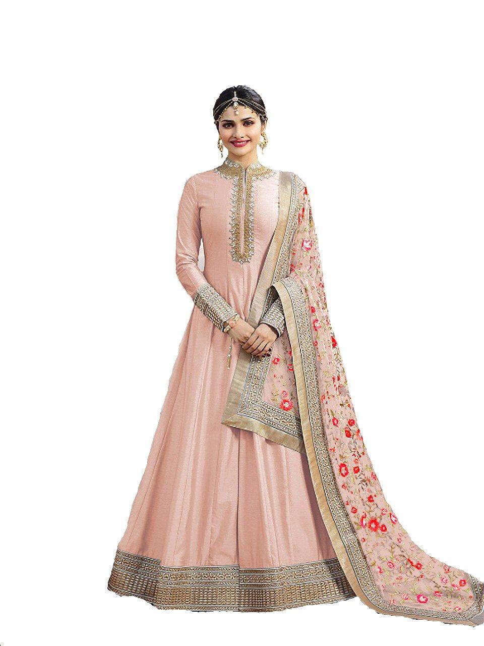 ziya Indian Wear & Ethnic Wear Anarkali Salwar Suit Kasheesh Rajmahal (Peach 2, XL-44)