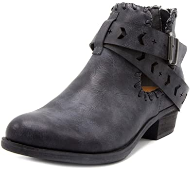 Women's Tiara Ankle Boot Bootie With Cutout Wraparounds and Woven Open Ankle With Whipstitch