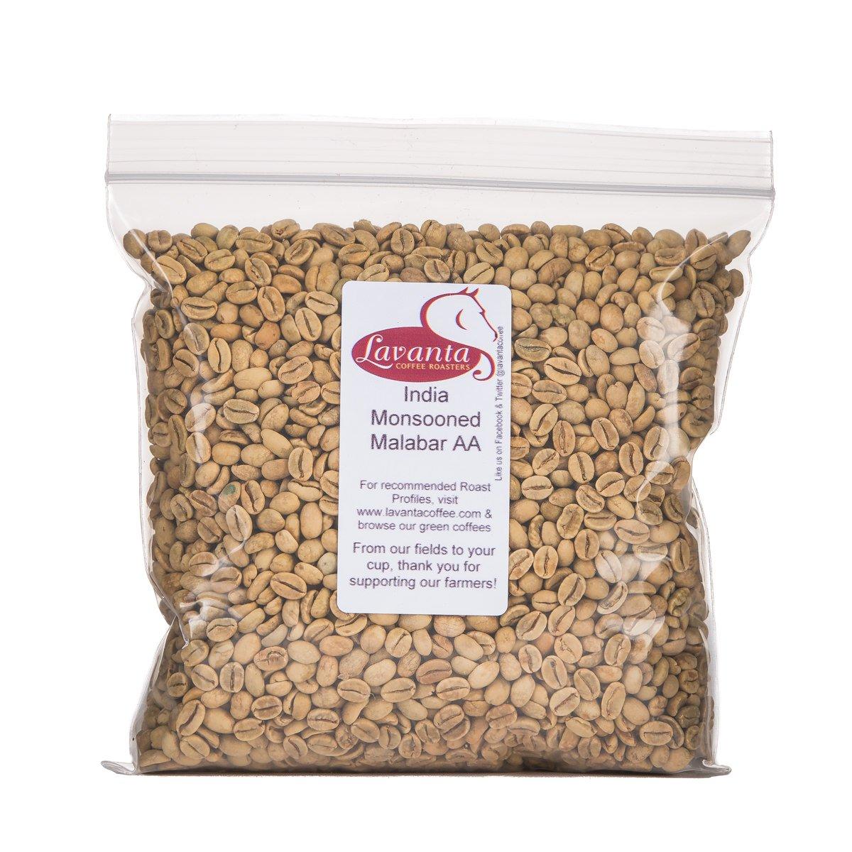 Lavanta Coffee Roasters 26Oz India Monsooned Malabar AA Green Direct Trade Coffee