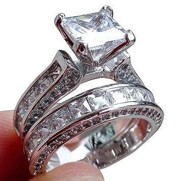 Balakie Womens Vintage White Diamond Silver Engagement Wedding Band Ring Set
