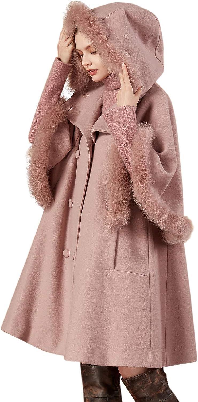 great deals sale online special sales Amazon.com: Artka Women's Hooded Fox Fur Collar Wool Blend Cape ...