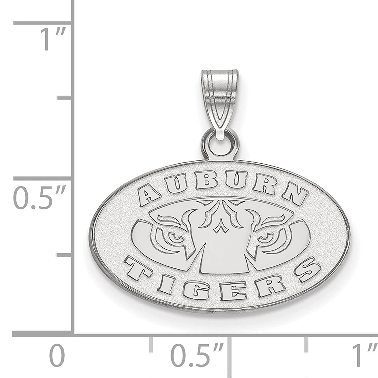 925 Sterling Silver Rhodium-plated Laser-cut Auburn University Small Pendant