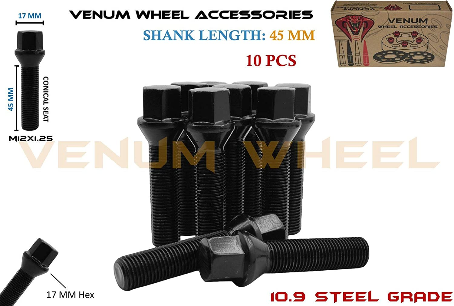 Venum wheel accessories 10Pc Black Powder Coated M12x1.25 Conical Seat Lug Bolts 45 MM Extended Shank Length Works with Jeep Fiat Dodge Chrysler Alfa Romeo Factory & Aftermarket Wheels