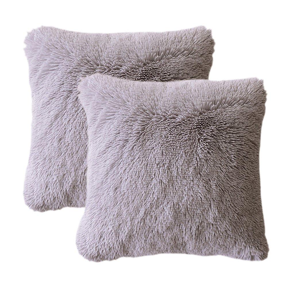 LIFEREVO 2 Pack Shaggy Plush Faux Fur Decorative Throw Pillow Cover Velvety Soft Cushion Case 18''X18'', Gray