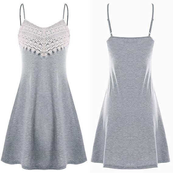 2018 Diseño Chaleco Vestido de Correa de Moda para Mujeres de Encaje  Crochet Backless Mini Vestido de Deslizamiento Camisola Vestidos Sin Mangas   Amazon.es  ... 2b48e113993e