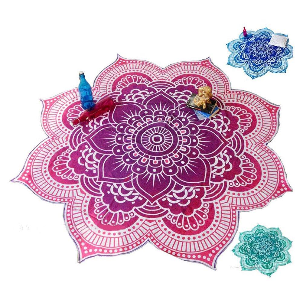 Pixnor Mandala ronda Lotus tiro tapiz manta alfombra Hippy bohemio gitano mantel playa toalla redonda p/úrpura Mat de Yoga