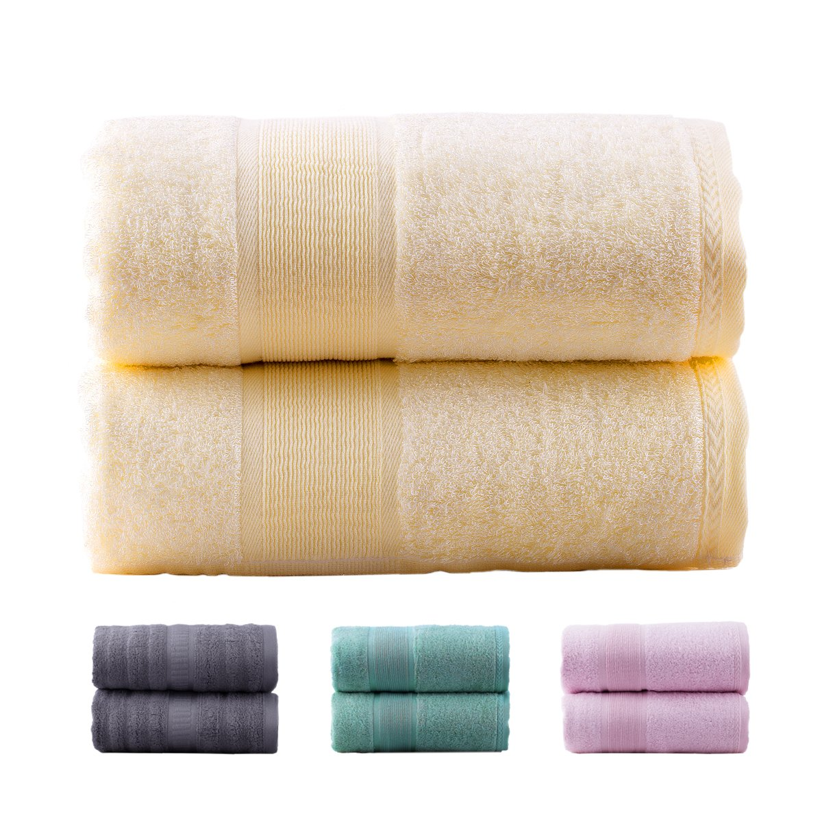 Jml Bamboo Bath Towels | 2 Piece Luxury Bath Towel Set for Bathroom(27x54) Antibacterial and Hypoallergenic, Soft and Absorbent, Odor Resistant, Skin Friendly(Pink)